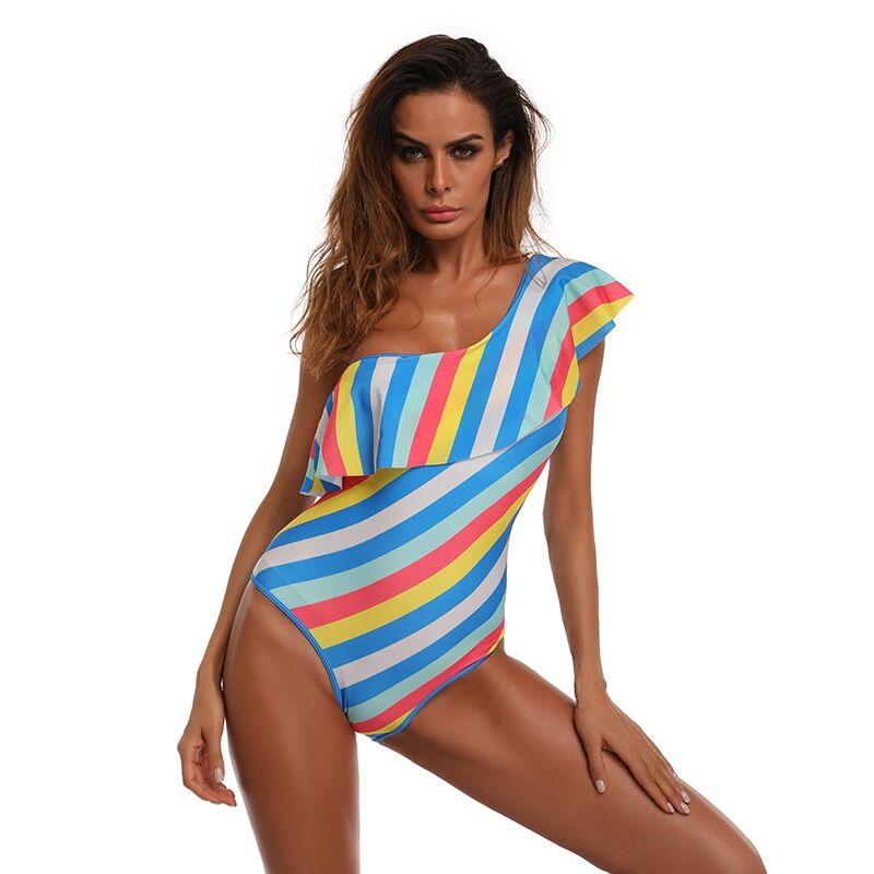 2017 Sexy One Piece Swimsuit Women Swimwear Blue Striped Swimsuit Padded Onepiece Beach Suit For Pool
