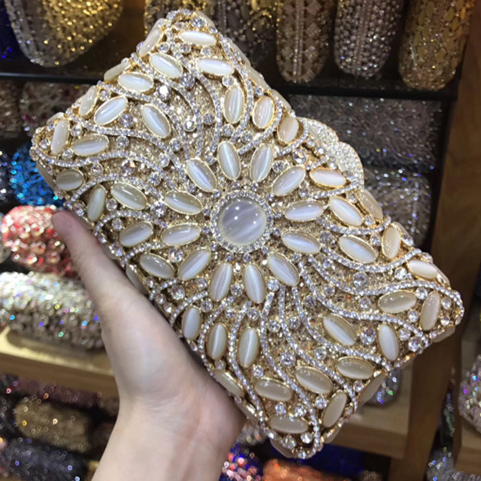 Women Gold Evening Clutch Bag Hollow Out Metal day Clutches For Bridal Wedding Party Handbag & Purse jade Bridesmaid dress bags