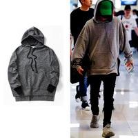 New Europe United States High Street Tide mens long hoodies Blended black Hemp imports of knitted Hooded sweatshirt
