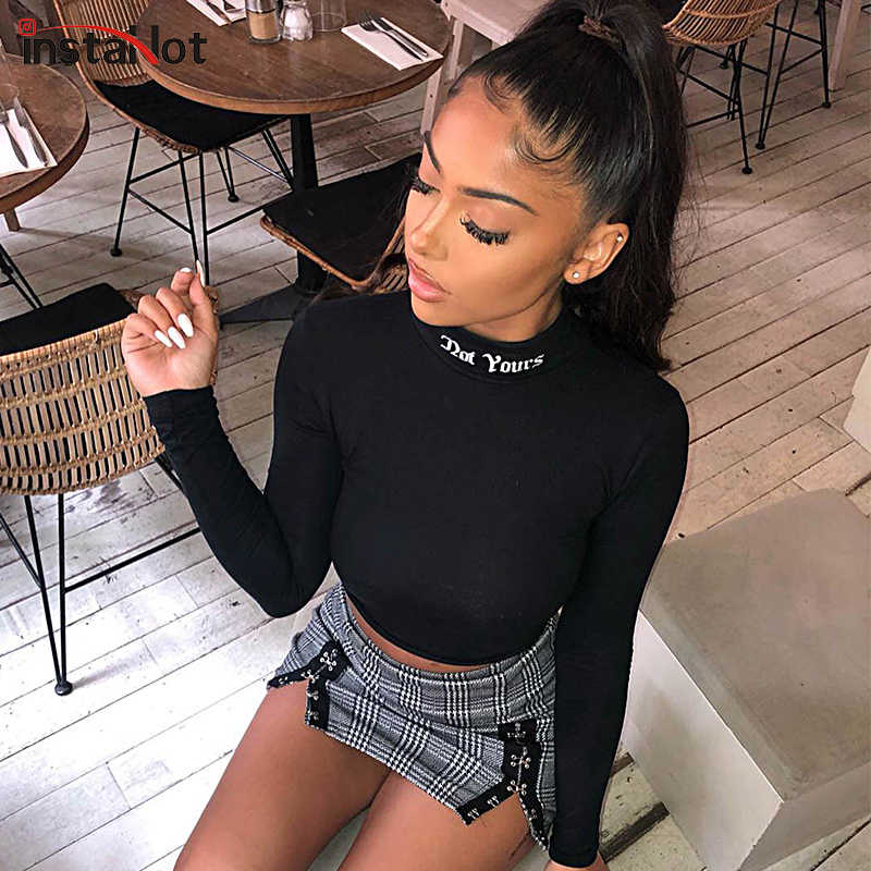 456f061a145 InstaHot Letter Print High Neck Long Sleeve T Shirts Women Spring Black Mock  Neck Embroidery Crop