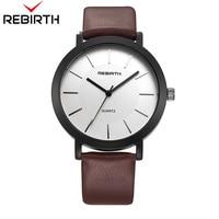 REBIRTH Women Casual Top Brand Luxury Quartz Leather Strap Clock Sport Small Circular Reticulate Design Multi