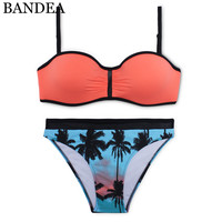 BANDEA Bikini Sexy Two Tone Bikini Set Orange Swimwear Push Up Swimsuit Palm Tree Bikinis Women