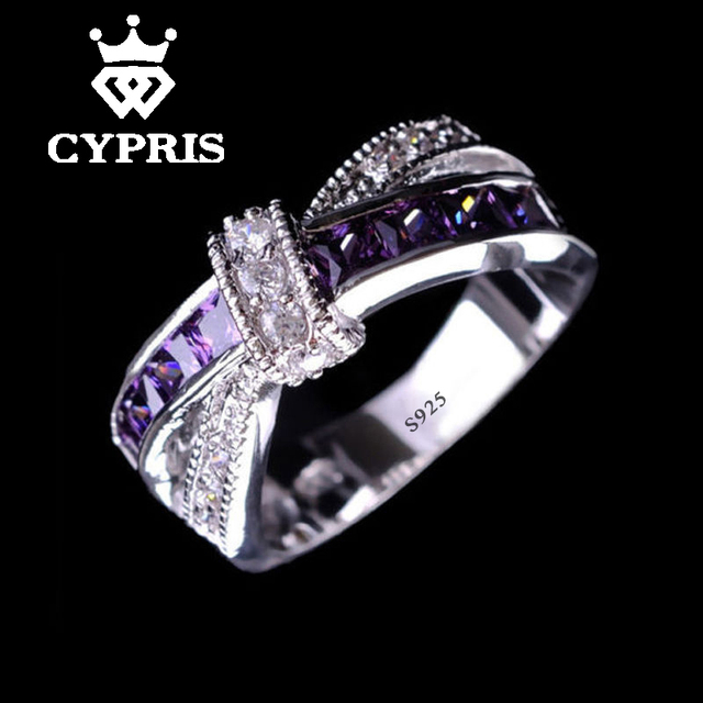 Purple silver Lovely Wedding white  color ring cz stone