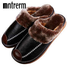 Mntrerm Winter Mens Slippers Genuine Leather Home Indoor Non Slip Thermal Shoes Men 2020 New Warm Winter Slippers Plus Size