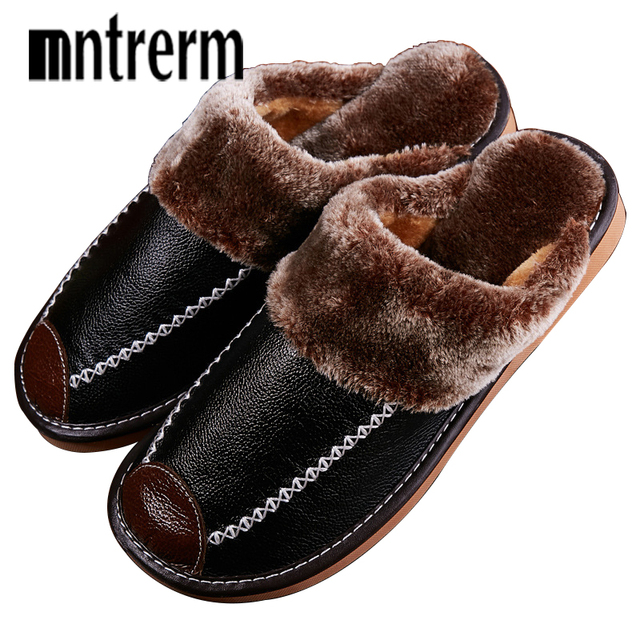Mntrerm zimowe męskie kapcie prawdziwej skóry domu kryty antypoślizgowe buty termiczne mężczyźni 2020 nowe ciepłe zimowe kapcie Plus rozmiar