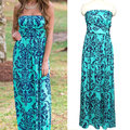 Fashion Bohemian Floral Print Strapless Long Maxi Women Dress Summer Beach Dresses Vestidos Floor Length