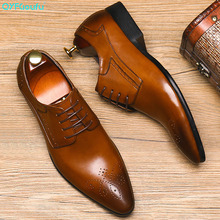 купить Brand Pointed Toe Men's Oxfords Formal Shoes Black/ Brown Genuine Leather Men Dress Shoes Wedding Suit Men Flats по цене 7741.34 рублей