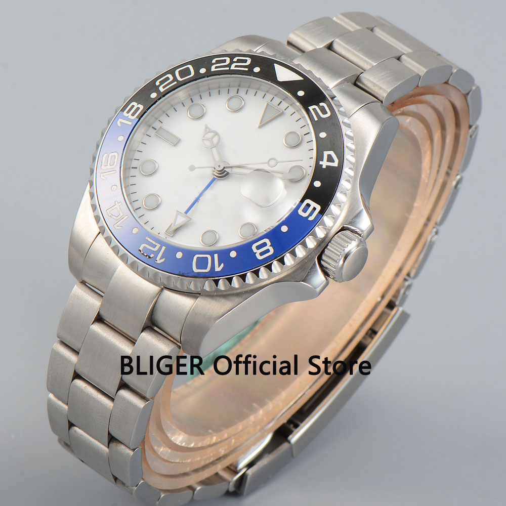 Sapphire Crystal 40mm BLIGER White Sterile Dial Blue Black Ceramic Bezel Luminous GMT Function Automatic Movement Men's Watch solid bliger 40mm white sterile dial blue ceramic bezel gmt function luminous hand date clcok automatic movement men s watch b51