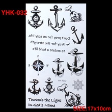 3D Sailor Anchor Hot Flashes Temporary Tatoo Colorful Waterproof Body Art Tattoo Sticker Tattoos Nontoxic Arm Tatto
