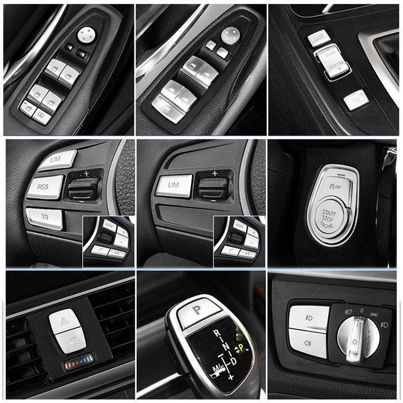 Car Styling Interior Button Sticker Trim For BMW 3 4 Series GT F30 F34 Auto Accessories Engine Start / Warning Light / Handbrake