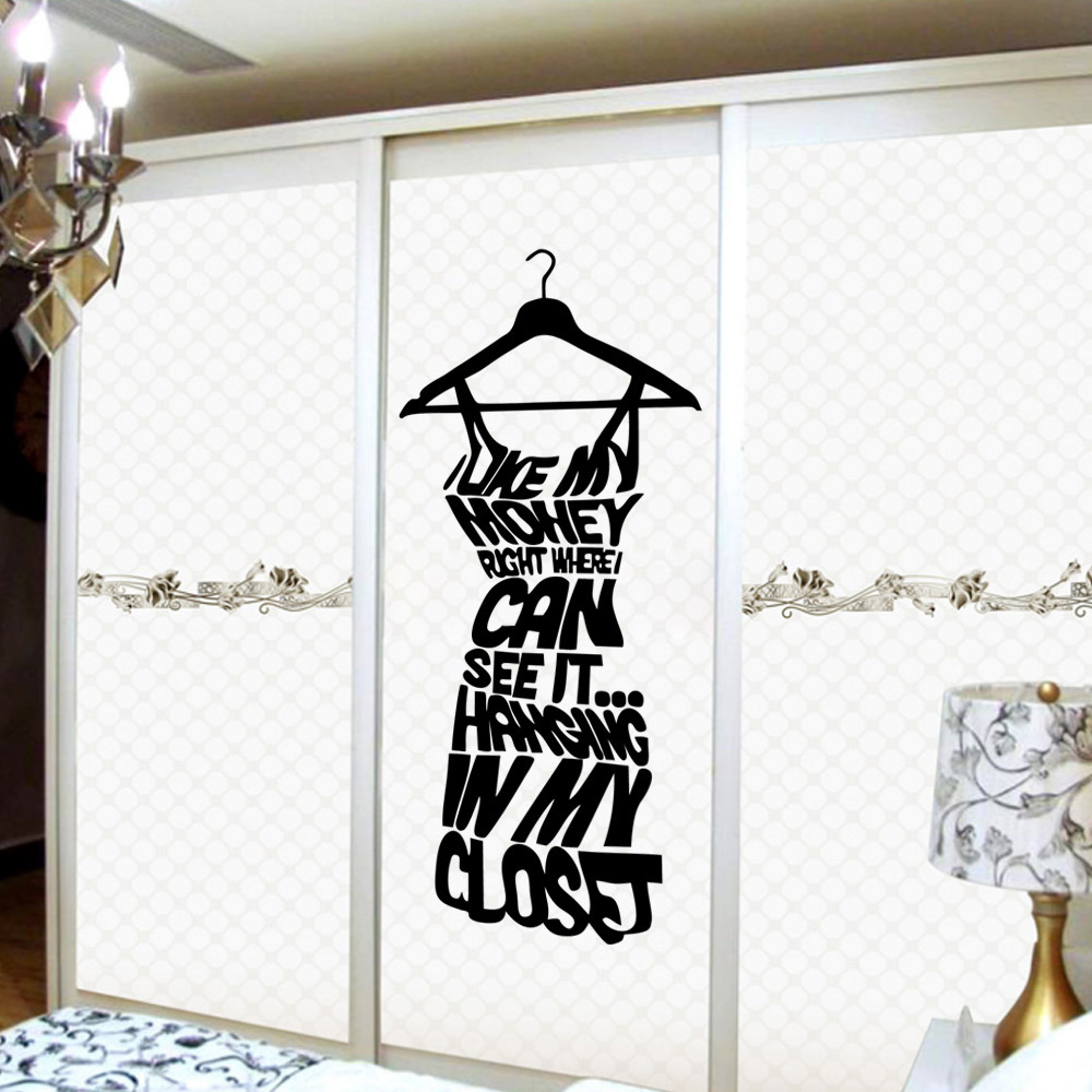Sticker wall hanger - Diy English Letter Vinyl Wall Stickers Furniture Sticker Hanger For Dressing Room Reading Room Wallpapers Home