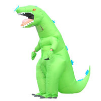 Inflatable Costume Christmas Cosplay Green Dinosaur Animal Jumpsuit Halloween Costume for Women Men Party Mask