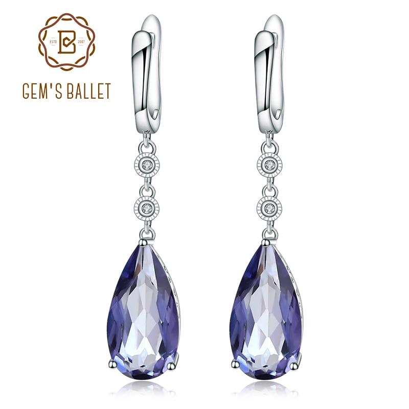 Natural 15.78Ct Iolite Blue Mystic Quartz 925 Sterling Silver Drop Earrings