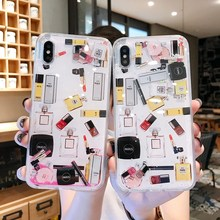 Quicksand Capinha Case For iPhone 7 8 6s Plus Makeup Cosmetics Dynamic Liquid Hard Back Cover X XR XS Max Capa ipone