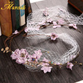 Girls Lavender Color Headband Charm Women Fascinator Purple Wedding Hair Accessaries Bride Wreath Jewelry with Hair Clip SG404