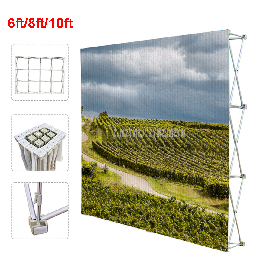 6ft/8ft/10ft Poster Retractable Backdrop Display Stand Tradeshow Wall Media Wedding Party Tension Fabric Banner Exhibition Boot