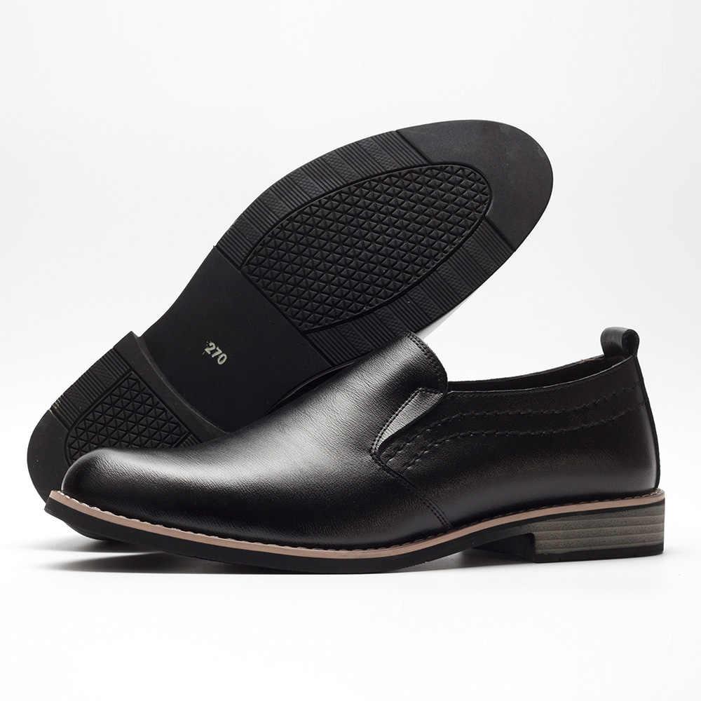 BUVAZIK ยี่ห้อหนังกระชับผู้ชายธุรกิจ Pointy รองเท้าสีดำ Breathable อย่างเป็นทางการงานแต่งงาน Basic รองเท้าผู้ชาย