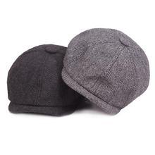 2018 nueva moda caliente Caballero tapa octogonal casquillo del vendedor de  periódicos sombrero de la boina d4be008ce76