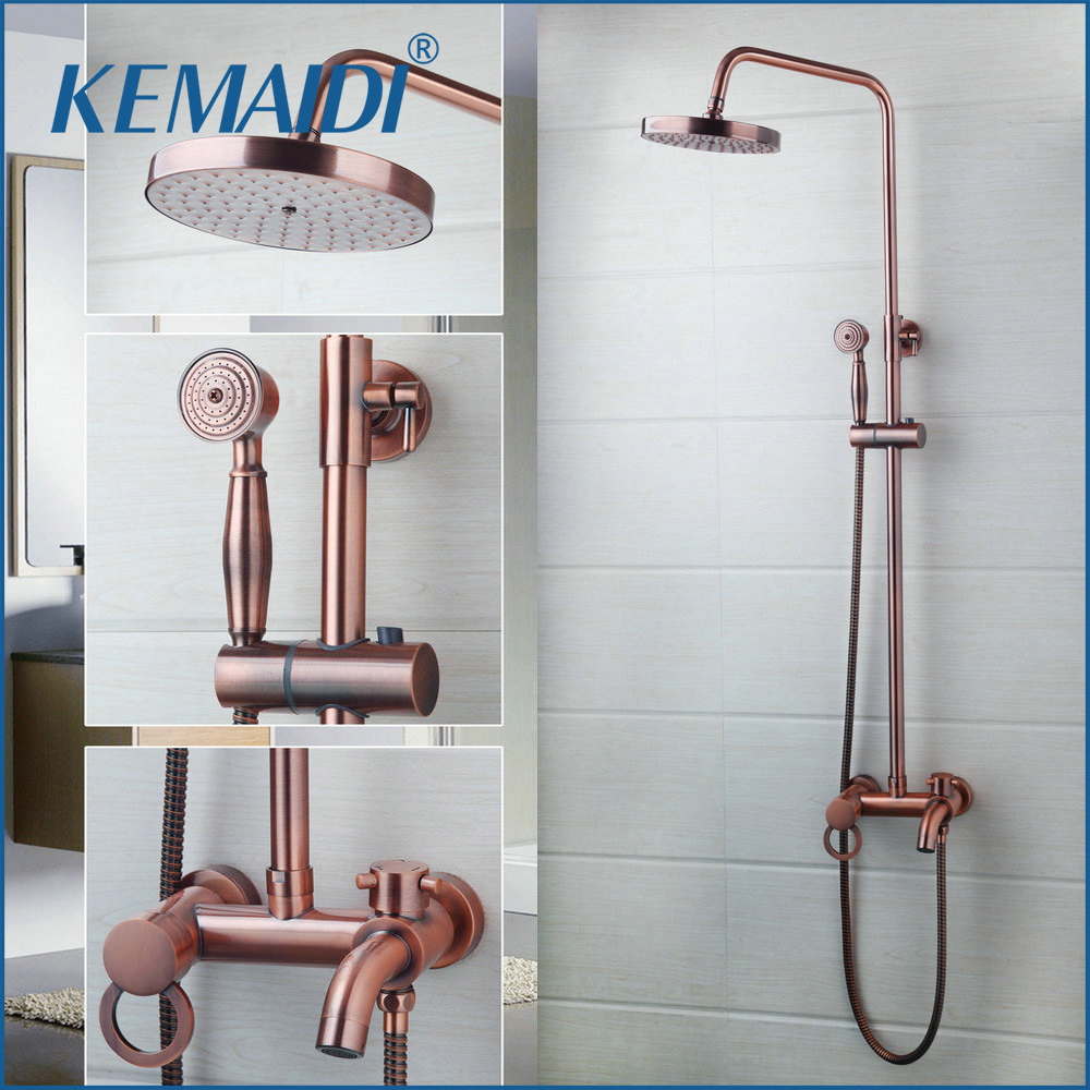 KEMAIDI Bathroom Shower Faucet Bath Faucet Mixer Tap With Hand Shower Head Rose Gold Shower Faucet Set Wall Mounted Brass chrome polished rainfall solid brass shower bath thermostatic shower faucet set mixer tap with double hand sprayer wall mounted