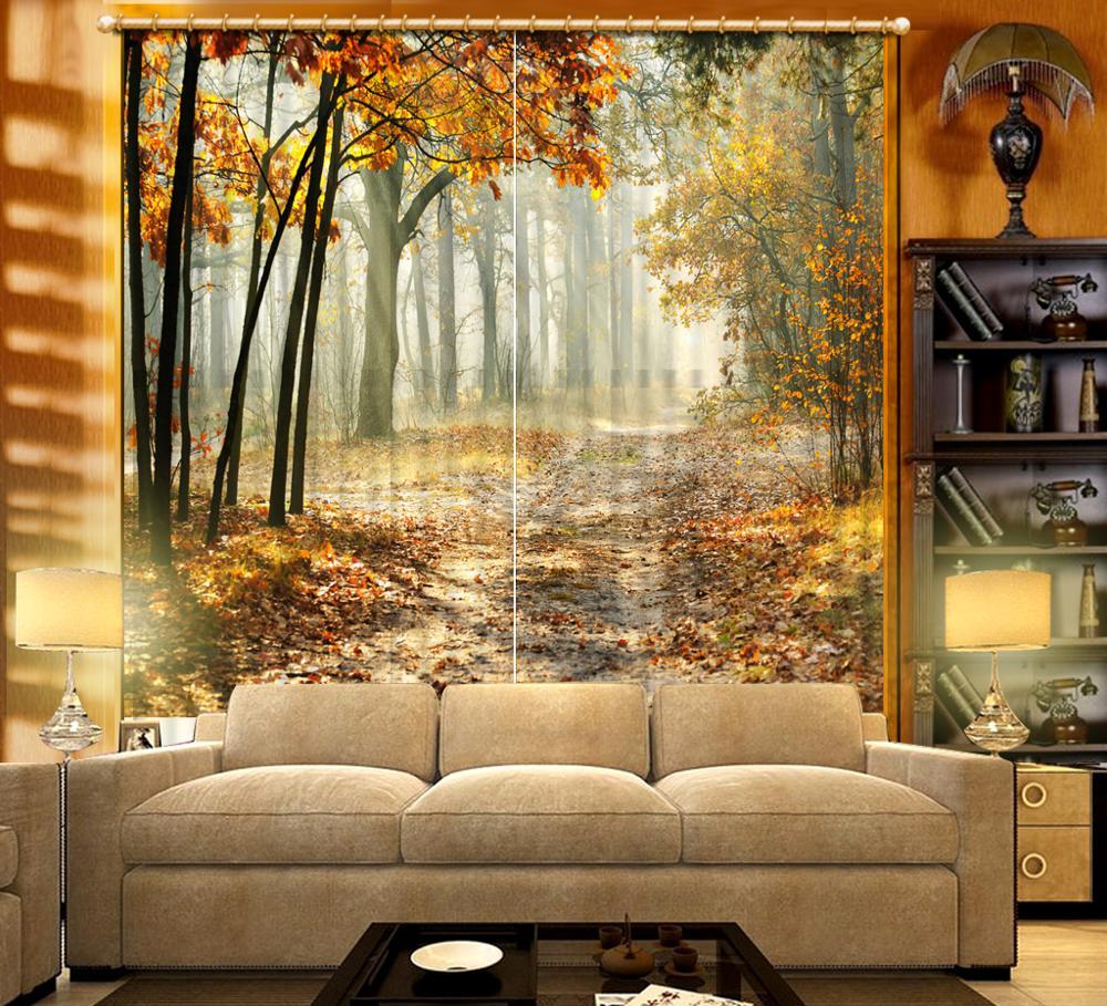Customized size Luxury Blackout 3D Window Curtains For Living Room forest curtains Blackout curtain auturn curtains