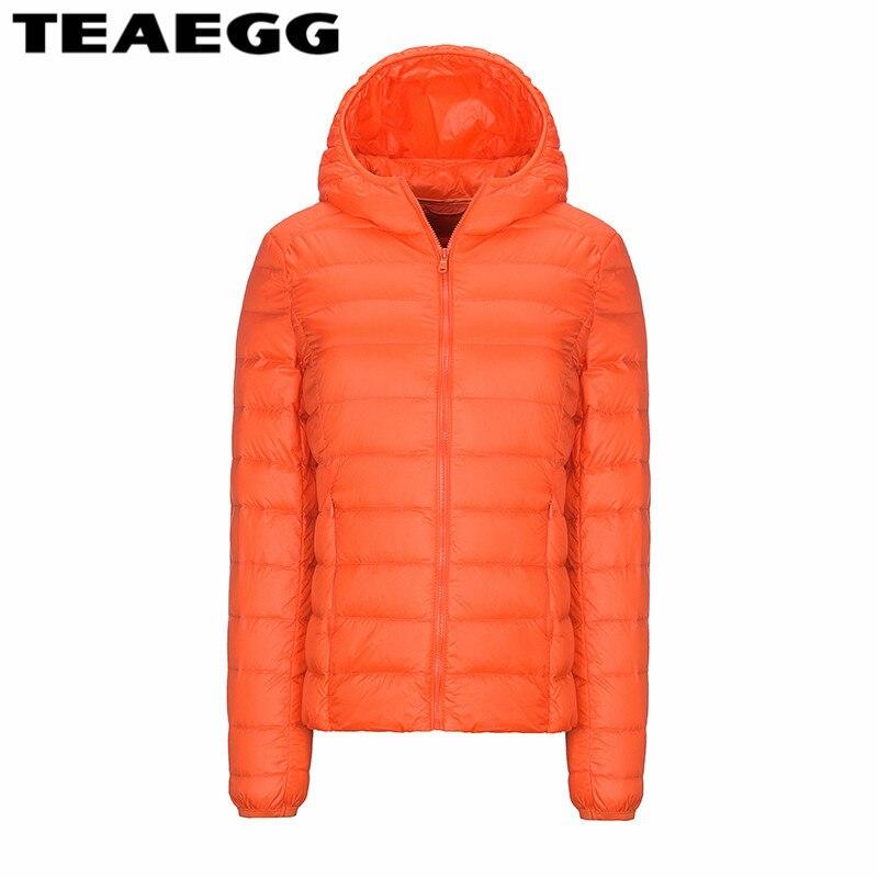 TEAEGG Hooded Slim Ultra Thin Down Jacket Winter 90% White Duck Down Womens Down Jackets Coat Famale Plus Size 4XL Parkas AL87