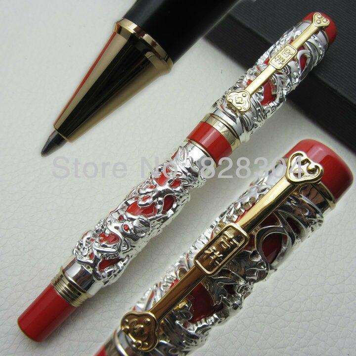 Jinhao Long Feng lourd argent rouge chinois classique chance clip rouleau stylo livraison gratuite