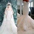 vestido de noiva de renda luxo 2017 Mermaid Sweetheart  Mermaid Wedding Dresses Beaded Luxury Lace Appliques   Custom Made