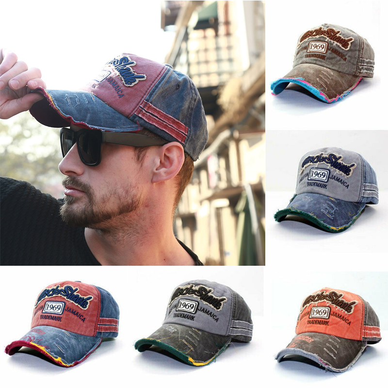 Unisex Vintage Old Shabby 1969   Baseball     Cap   Adjustable Denim Distressed Trucker Hat Couple Sun Hat