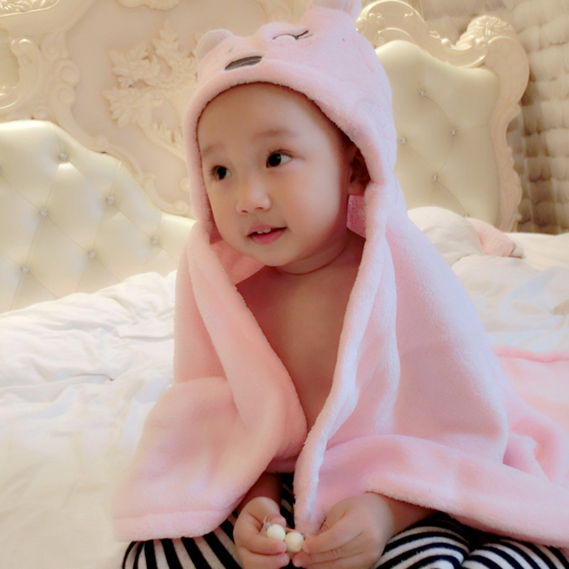 BW#A Cute Soft Animal Cartoon Baby Kid/'s Hooded Bathrobe Toddler Bath Towel