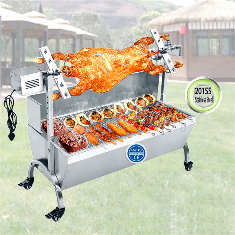Stainless Steel Pig Goat Roasted Whole Lamb Stove BBQ Grill Machine Charcoal Barbeque Spit Roaster 89cm Rotisserie Heavy Duty