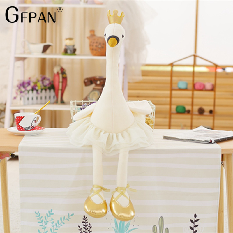 1pcs Beautiful Skirt Swan White&Pink Color Super Lovely Animal Stuffed&Plush Baby Cotton Toys Party Doll For Children Girls Kids