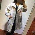 Korean style Beige & white novetly turn down collar fashion slim coats causal button zipper long jacket