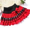 2017 Последние Дизайн Девушки зима юбка дети кружева лук плиссированные юбки шерстяные юбки Корейский оптовая 2 цвет Красный черный
