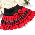 2017 El Último Diseño de invierno de Las Muchachas niños de la falda del arco del cordón faldas plisadas falda de lana Coreana al por mayor 2 de color Rojo negro