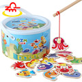 Toys Paradise Baby Toys Magnetic Marine Fishing Wooden Toys Ocean Animal Fishing Toys Barrel Package Birthday Gift