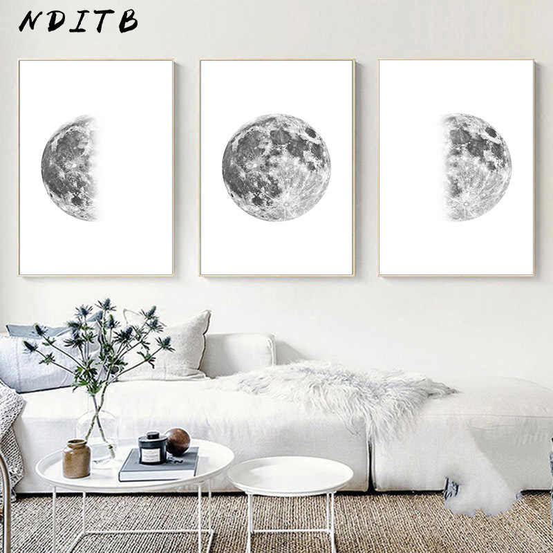 Luna Moon Phase Canvas Poster Print Minimalist Wall Art Abstract Painting Nordic Decoration Pictures Modern Living Room Decor