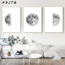 Luna lune Phase toile affiche impression minimaliste mur Art abstrait peinture nordique décoration photos moderne salon décor(China)