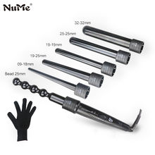 6 In 1 Professional Ceramic Curling Iron Interchangeable Hair Curler waver LED display Curling Wand roller With Resistant Glove(China)