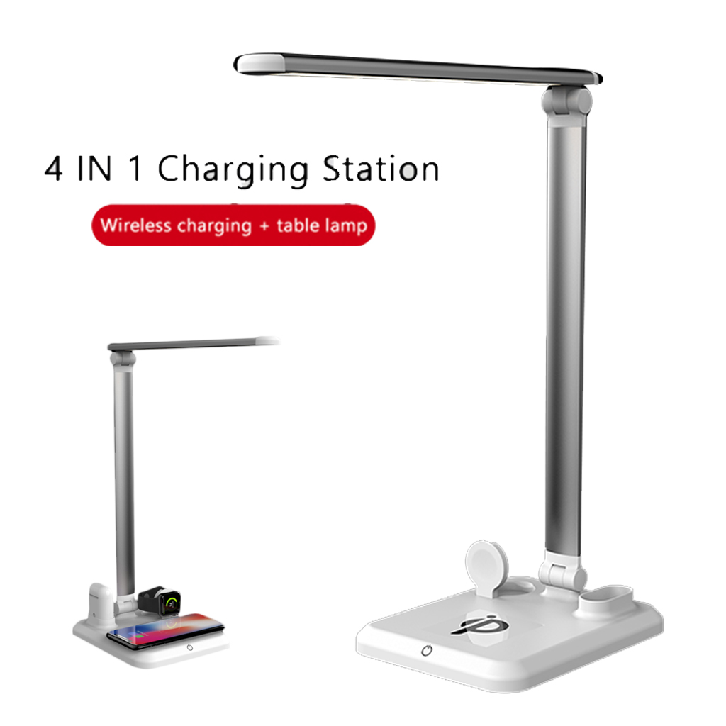 4 IN 1 Table Desk Lamp LED Light USB Charging Station Fast QI Wireless Charger Dock For Apple Watch Airpods IPhone
