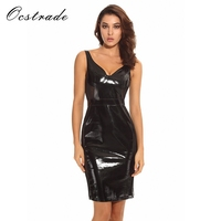 Sexy Black Dress with Spaghetti Straps 2017 New Black Patent Vegan Bustier Summer Dress Women Pu Leather Dresses Mesh