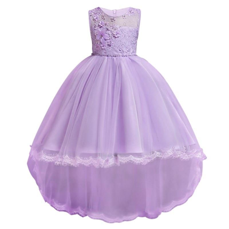 Nieuwe prinsessenjurk Meisjes Feestkleding Lange kant sleepavondjurk Kinderenkleding in meisjeskleding Kinderfeestje