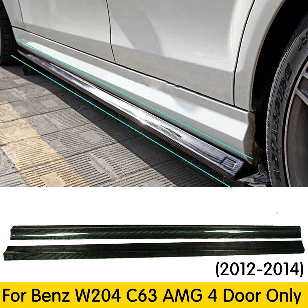 W204 C63 karbon Fiber yan uzatma etek Benz W204 4 kapı Sedan C180 C200 C260 C63 Amg 2008-2014