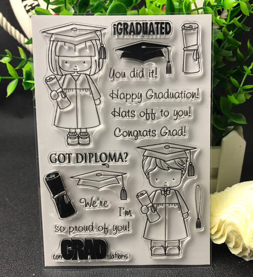 Happy Graduate Transparent Clear Silicone Stamp/Seal for DIY scrapbooking/photo album Decorative clear stamp lovely animals and ballon design transparent clear silicone stamp for diy scrapbooking photo album clear stamp cl 278