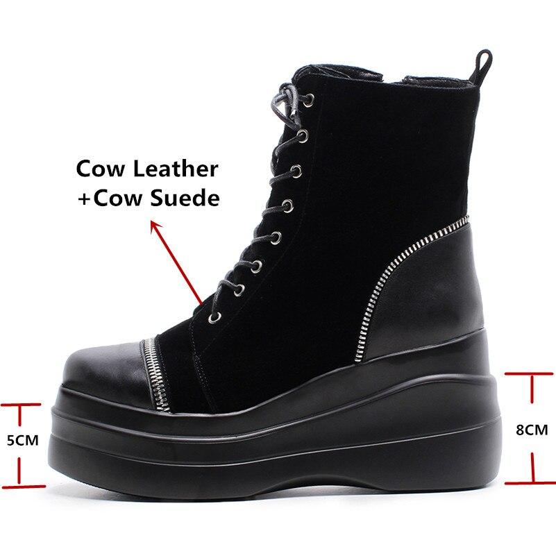 Gamuza Vaca Mujer Redonda Negro Tied Zapatos Botines Moda wXSqaXUrx