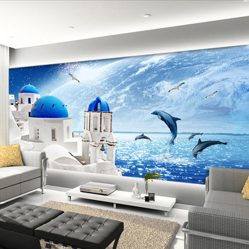 Mediterranean Seaside View Castle Photo Mural Wallpaper Jumping Dolphins Creative Living Room Bedroom Home Decor 3D Wall Murals view from castle rock