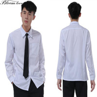 New Korean Men S Shirt Turn Down Collar Mens White Blouse School Uniform For Boy Long