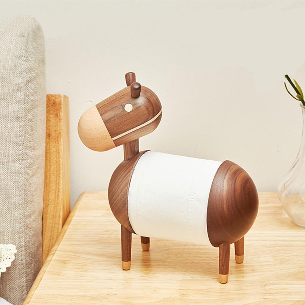 Cartoon petit âne en bois papier porte-serviettes en bois massif salle de bains papier toilette rouleau papier cadre en bois artisanat ornements
