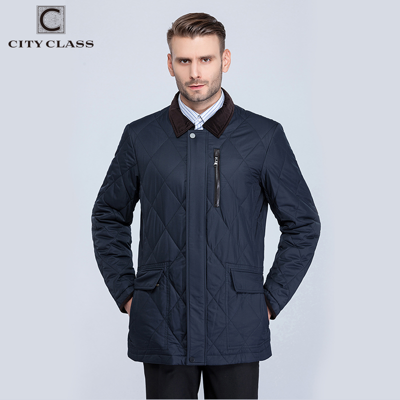 City Class 2016 New Mens Spring Autumn Quilted Jackets Corduroy Collar Bussiness Style Fashion