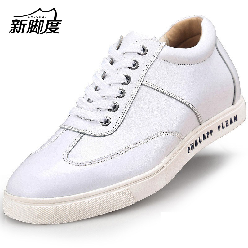 2017 Fashion Leisure Calf Leather Shoes Flats Height Increasing Elevator Shoes with Hidden Insole Lift 6CM Black White
