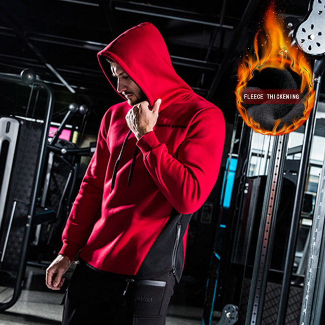 Autumn winter New Gym  training Thicken  warm Hoodies Men Long Sleeve Hoodie Sweatshirt Color  Men's casual sports